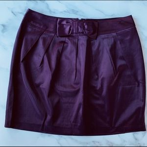 Forever 21 Purple Satin Mini Skirt With Front Bow